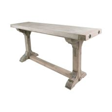 Pirate Concrete And Wood Console Table With Waxed Atlantic Finish