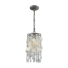 Alexandra 1 Light Pendant In Weathered Zinc With Capiz Shells And Clear Crystal - Includes Recessed Lighting Kit