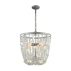 Alexandra 5 Light Chandelier In Weathered Zinc With Capiz Shells And Clear Crystal