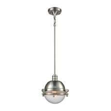Riley 1 Light Pendant In Satin Nickel With Clear Glass - Includes Recessed Lighting Kit