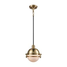 Riley 1 Light Pendant In Satin Brass And Oil Rubbed Bronze - Includes Recessed Lighting Kit