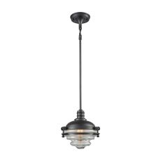 Riley 1 Light Pendant In Oil Rubbed Bronze With Clear Glass