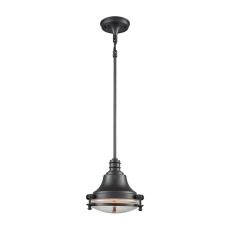 Riley 1 Light Pendant In Oil Rubbed Bronze With Clear Glass - Includes Recessed Lighting Kit