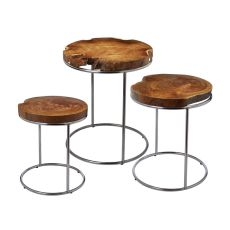 Natural Teak Stacking Tables