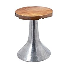 Hammered Decorative Teak Table In Silver