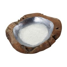 Round Teak Bowl With Aluminum Insert - Large