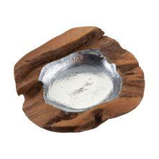 Round Teak Bowl With Aluminum Insert - Medium
