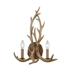 Elk 2 Light Wall Sconce In Wood Brown