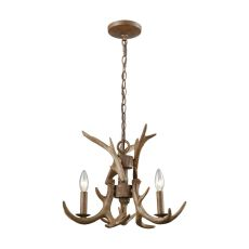 Elk 3 Light Chandelier In Wood Brown