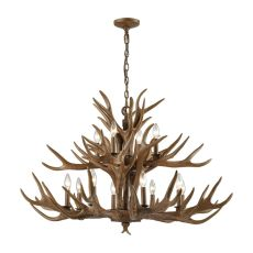 Elk 12 Light Chandelier In Wood Brown