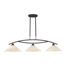 Elysburg 3 Light Island In Oil Rubbed Bronze And White Glass