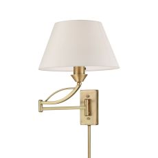 Elysburg 1 Light Swingarm In French Brass With White Fabric Shade
