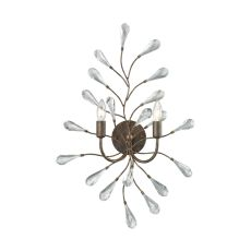 Crislett 2 Light Wall Sconce In Sunglow Bronze With Clear Crystal