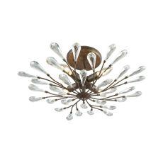Crislett 4 Light Semi Flush In Sunglow Bronze With Clear Crystal