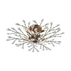 Crislett 8 Light Semi Flush In Sunglow Bronze With Clear Crystal