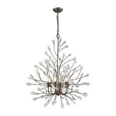 Crislett 6 Light Chandelier In Sunglow Bronze With Clear Crystal