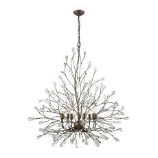 Crislett 9 Light Chandelier In Sunglow Bronze With Clear Crystal
