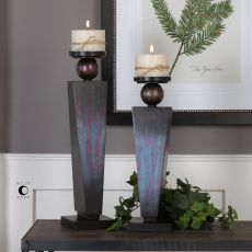 Geremia Oxidized Bronze Candleholders S/2