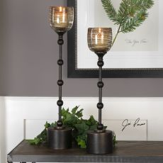 Lula Oil Rubbed Bronze Candleholders S/2