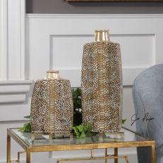 Reptila Textured Ceramic Vases S/2