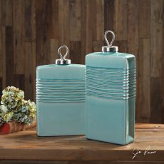 Rewa Green Ceramic Containers S/2