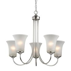 Charleston 5 Light Chandeier In Brushed Nickel