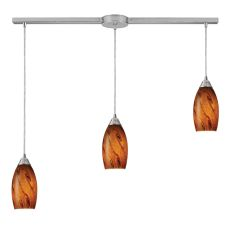 Galaxy 3 Led Light Pendant In Brown And Satin Nickel