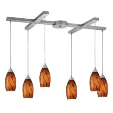 Galaxy 6 Led Light Pendant In Brown And Satin Nickel