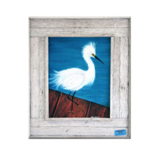 Snowy On The Dock Framed Art Print