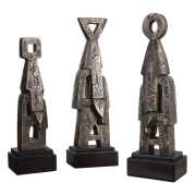 Uttermost Geometric Golden Bronze Totem Sculptures S/3