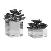 Uttermost Indian Lotus Metallic Silver Flowers S/2