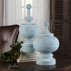 Uttermost Philippa Powder Blue Finials S/2