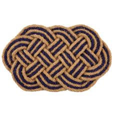 Braided Blue Oval Hand Woven Coconut Fiber Doormat