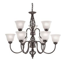 Santa Fe 6+3 Light Chandelier  In Oil Rubbed Bronze