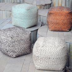 Valda Aqua Wool Pouf