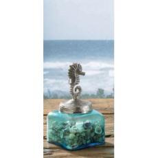 Coastal Sea Horse Glass Jar