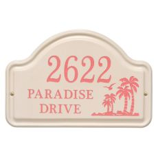 Personalized Palm Ceramic Arch, Bristol Plaque With Coral Etching