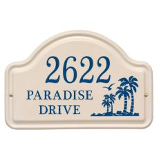 Personalized Palm Ceramic Arch, Bristol Plaque With Dark Blue Etching