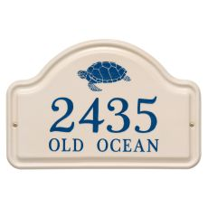 Personalized Turtle Ceramic Arch Plaque, Bristol Plaque With Dark Blue Etching