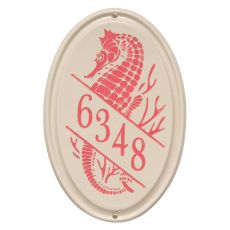 Personalized Sea Horse Ceramic Vertical Plaque, Bristol Plaque with Coral etching