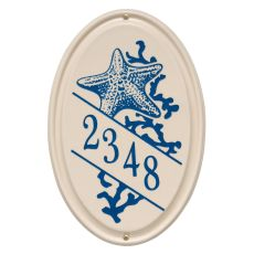 Personalized Star Fish Ceramic Oval Plaque, Bristol Plaque With Dark Blue Etching
