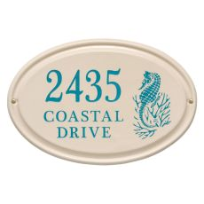 Personalized Sea Horse Ceramic Oval Plaque, Bristol Plaque With Sea Blue Etching