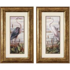 Heron/ Egret Framed Art Set of 2