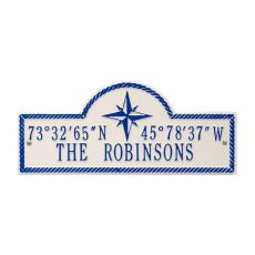 Personalized Coordinates Plaque, White / Navy