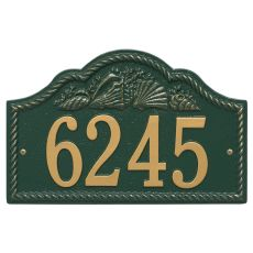 Personalized Rope Shell Arch Plaque Wall, Green / Gold