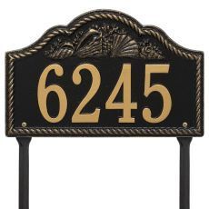 Personalized Rope Shell Arch Plaque Lawn, Black / Gold