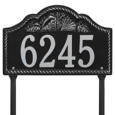 Personalized Rope Shell Arch Plaque Lawn, Black / Silver