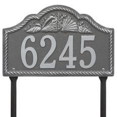 Personalized Rope Shell Arch Plaque Lawn, Pewter Silver