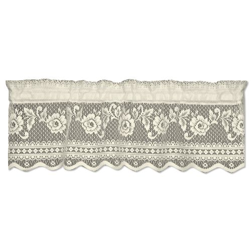 Victorian Rose Insert Window Valance, Ecru