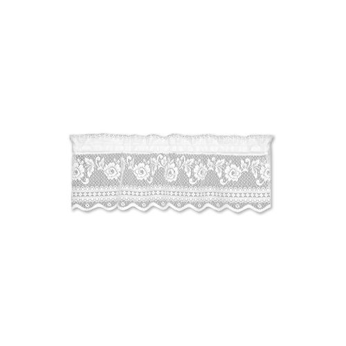 Victorian Rose Insert Window Valance, White